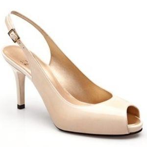 Stuart Weitzman Caplitely Nude peep toe heels